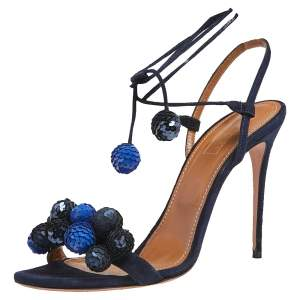 Aquazzura Blue Suede and Sequins Disco Thing Ankle Wrap Sandals Size 40