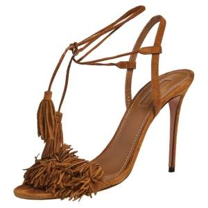 Aquazzura Tan Suede Wild Thing Ankle Wrap Sandals Size 39