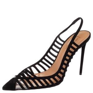 Aquazzura Black Suede And PVC Cosima Slingback Sandals Size 40