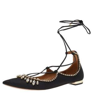 Aquazzura Alexa Black Satin Crystal Embellished Ankle Strap Flats Size 36.5