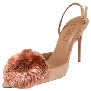 Aquazzura Beige Suede Powder Puff Pointed Toe Slingback Sandals Size 36.5