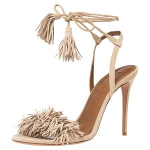 Aquazzura Beige Fringed Suede Wild Thing Ankle Wrap Sandals Size 38