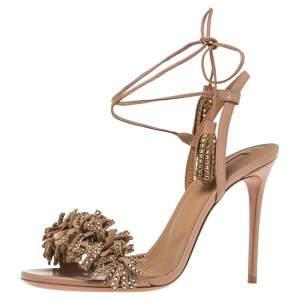 Aquazzura Beige Leather Wild Thing Embellished Fringe And Tassel Ankle Wrap Sandals Size 38.5