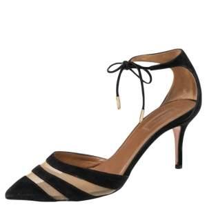 Aquazzura Black Suede Ankle Wrap Sandals Size 38