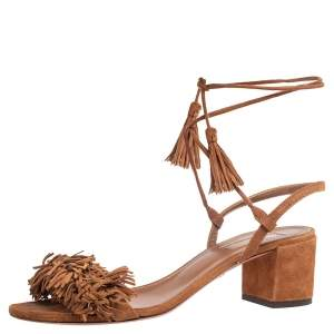 Aquazzura Brown Suede Wild Thing Ankle Wrap Sandals Size 38