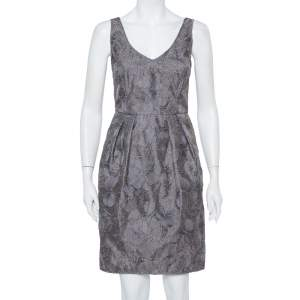 Armani Collezioni Grey Floral Embroidered Pleated Organza Dress M