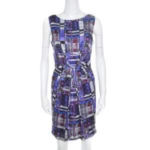 Armani Collezioni Multicolor Printed Silk Pleated Sleeveless Dress M