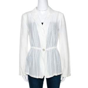 Armani Collezioni White Perforated Wool Blend Peplum Jacket M