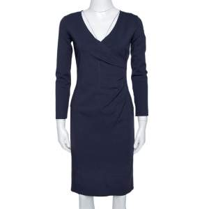 Armani Collezioni Midnight Blue Knit Gathered Fitted Dress S