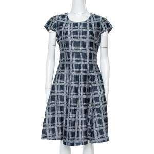 Armani Collezioni Navy Blue Checked Linen & Cotton Flared Dress M