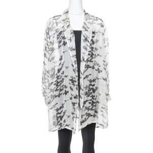 Armani Collezioni Grey Silk Stencil Floral Ruched Top M