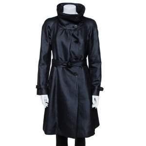 Armani Collezioni Metallic Black Wool Belted Trench Coat M