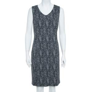 Armani Collezioni Black Cotton Herringbone Jacquard Sheath Sleeveless Dress L