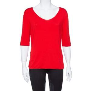 Armani Collezioni Red Cotton Jersey V Neck T-shirt L
