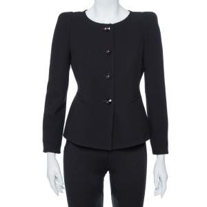 Armani Collezioni Black Wool Crepe Shoulder Pad Detail Boxy Jacket S