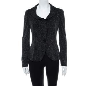 Armani Collezioni Black Embellished Jersey Ruffle Lapel Detail Blazer M