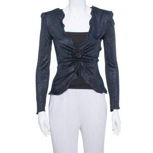 Armani Collezioni Navy Blue Glitter Embellished Button Front Light Weight Jacket S