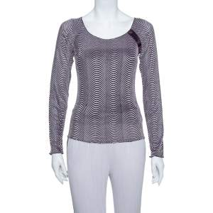 Armani Collezioni Purple Wave Pattern Knit button Detail Top S