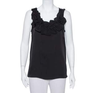 Armani Collezioni Black Silk Bow Trim Detail Sleeveless Top L