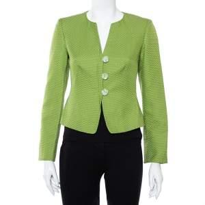 جاكيت بليزر أرماني كوليزيوني قطن أخضر وحرير بأزرار أمامية مقاس صغير - سمول