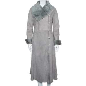 Armani Collezioni Grey Suede Paneled Fur lined Long Coat M