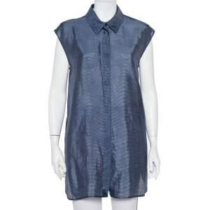 Armani Collezioni Navy Blue Striped Linen & Silk Sleeveless Long Shirt M