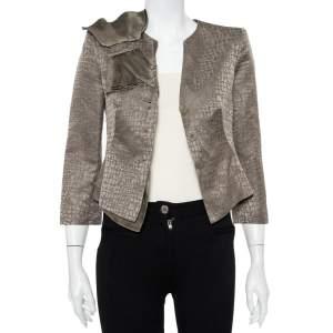 Armani Collezioni Vintage Grey Textured Linen & Silk Bow Trim Detail Blazer S
