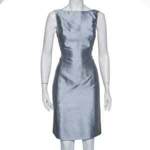 Armani Collezioni Grey Silk & Wool Sleeveless Sheath Dress M
