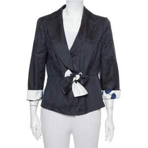 Armani Collezioni Midnight Blue Silk Jacquard Contrast Waist Tie Detail Blazer L