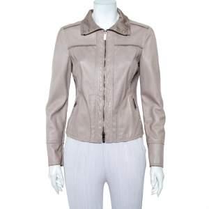 Armani Collezioni Beige Leather Zip Front Jacket M