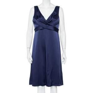 Armani Collezioni Navy Blue Silk Satin draped Detail Midi Dress L