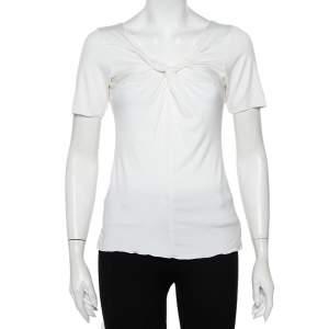 Armani Collezioni White Knit Draped Neck Detail Top M