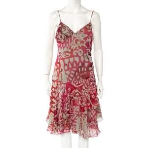 Armani Collezioni Beige & Pink Printed Silk Ruffled Sleeveless Midi Dress XL
