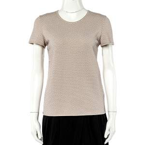 Armani Collezioni Beige Embossed Knit Short Sleeve Top L