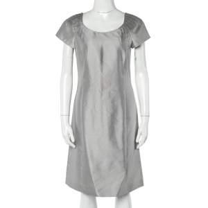 Armani Collezioni Grey Raw Silk Blend Sheath Dress M