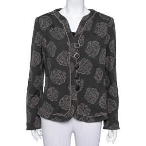 Armani Collezioni Grey Italian Rose Jacquard Knit Button Front Blazer XL