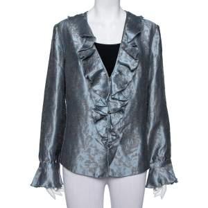 Armani Collezioni Grey Floral Jacquard Ruffled Button Front Jacket XL