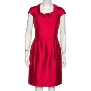 Armani Collezioni Ruby Pink Cotton & Silk Pintuck Detail Sheath Dress M