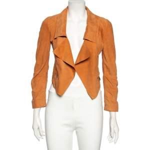 Emporio Armani Sandstone Orange Suede Open Front Jacket XS