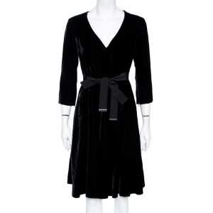 Armani Collezioni Black Velvet Gathered Waist Detail Belted Dress M