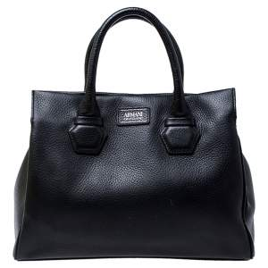 Armani Collezioni Black Leather Tote