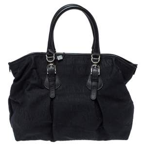 Armani Collezioni Black Signature Canvas and Leather Satchel