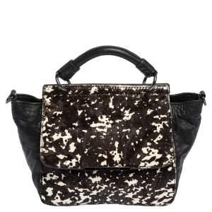 Armani Exchange Black/Brown Leopard Print Calfhair and Leather Top Handle Bag