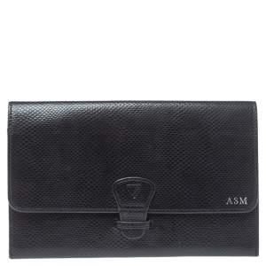 Aspinal Of London Black Python Embossed Leather Travel Organizer