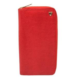 Aspinal Of London Red Lizard Skin Zip Travel Organizer