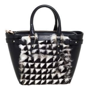 Aspinal Of London Black/White Geometric Rabbit Fur and Leather Mini Marylebone Tote
