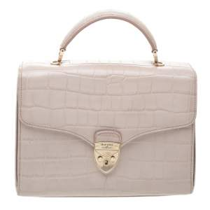 Aspinal Of London Beige Croc Embossed Leather Mayfair Top Handle Bag