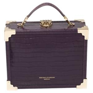 Aspinal Of London Purple Croc Embossed Leather Trunk Top Handle Bag