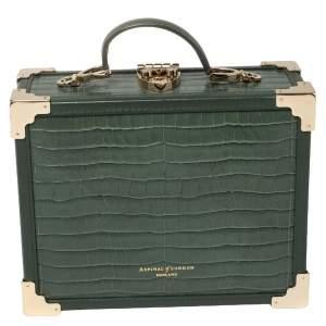 حقيبة يد علوية اسبينال أف لندن حُلي جلد نقش تمساح أخضر