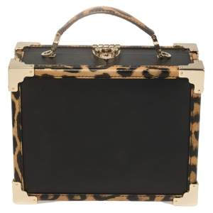 Aspinal Of London Black/Beige Leather and Coated Canvas Trunk Top Handle Bag